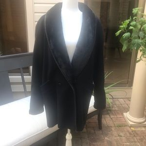Fashion by JILL Wool and Leather Black Coat